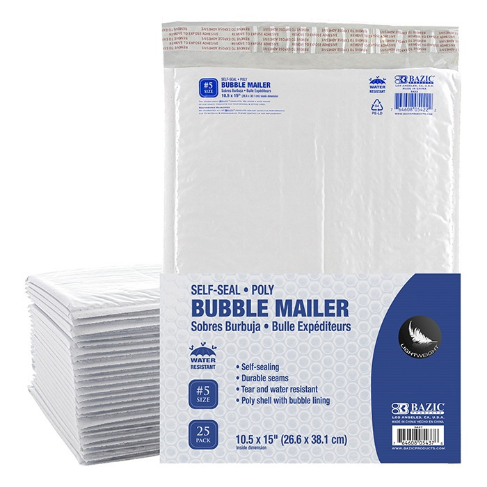 """Poly Bubble Mailer 10.5"""" X 15"""" (#5) - 25 Pack"""