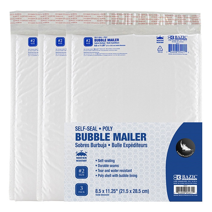 """Poly Bubble Mailer 8.5"""" X 11.25"""" (#2) - 3 Pack"""