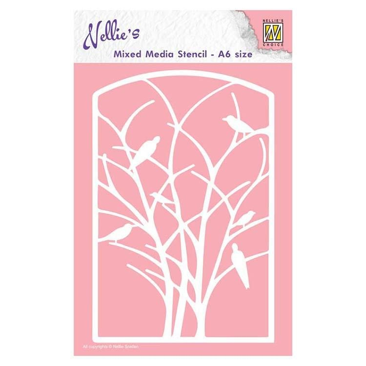 Nellie's Choice A6 Mixed Media Stencil Frame With Birds In Tree