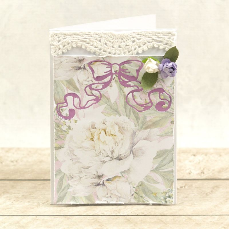 Couture Creations Peaceful Peonies Hotfoil Stamp Waving Ribbon