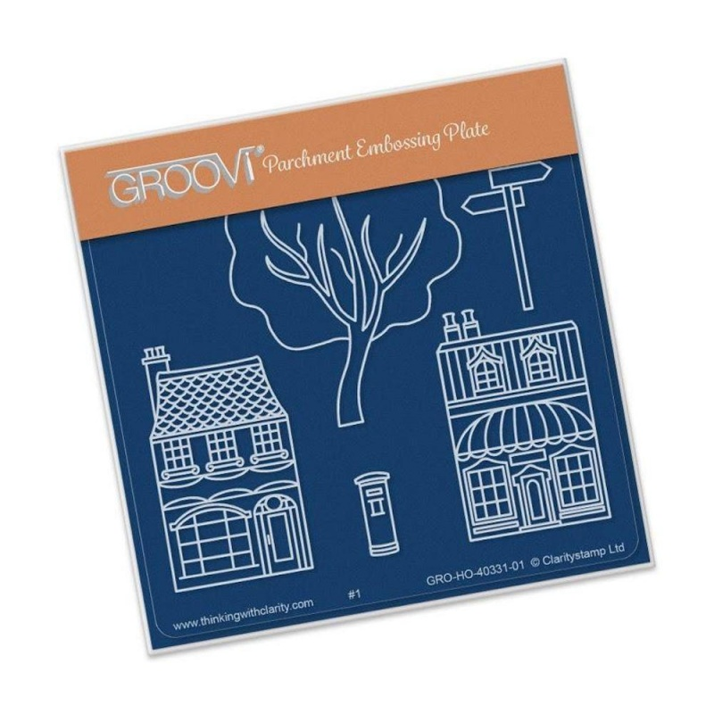 Groovi Wee Shops & Trees Plate A6 Sq