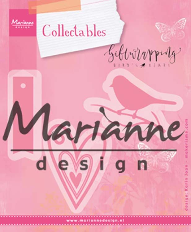 Marianne Design Collectables Giftwrapping - Karin's Bird, Hearts & Tag
