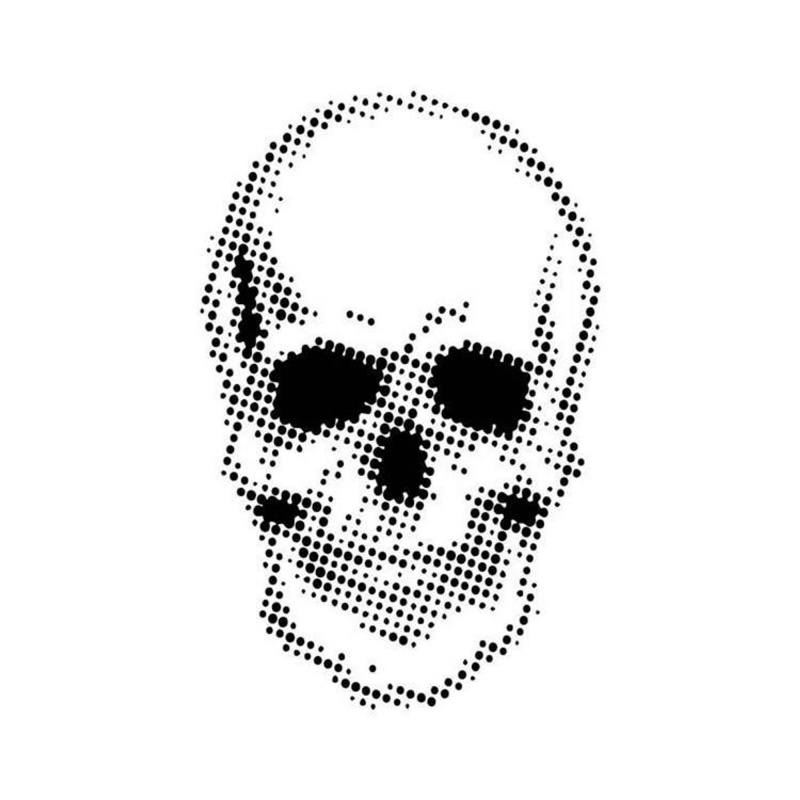 Creative Expressions 7 X 7 Stencil By Andy Skinner Half Tone Skull