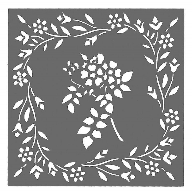 Creative Expressions Mask - Floral Frame 6 X 6 Stencil