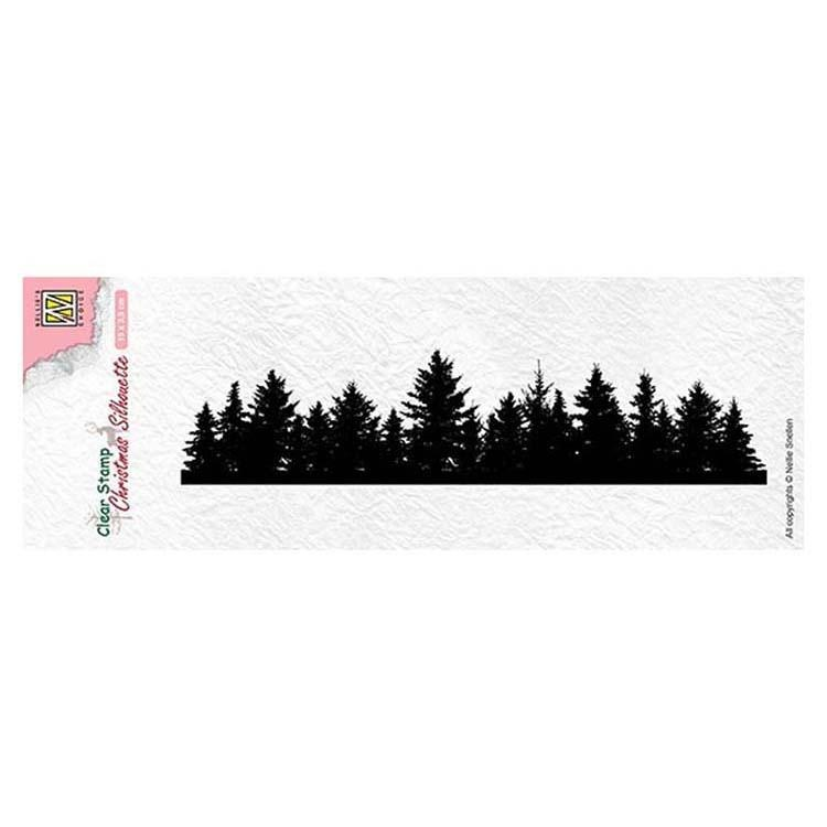 Nellie's Choice Clear Stamp Christmas Silhouette Pine Tree Border