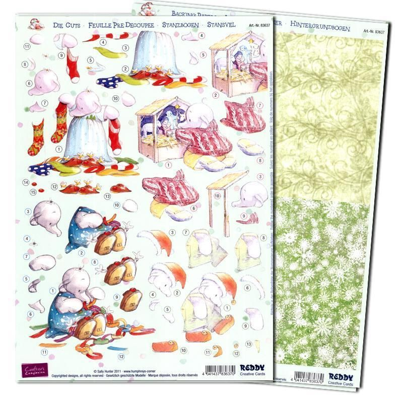 3D Precut (4 Scenes)Humphrey Elephant Christmas Manger/Backing Sheet