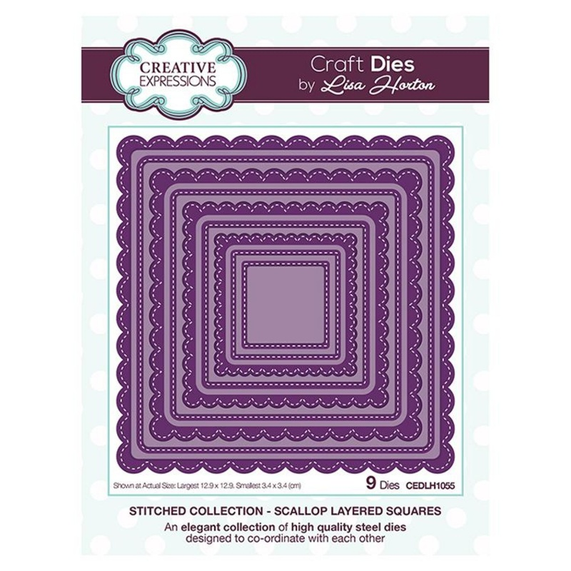 Creative Expressions Stitched Collection Scallop Layered Squares