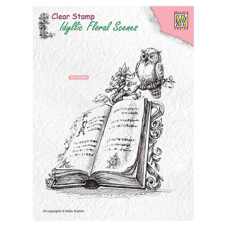Nellie's Choice Clear Stamp Idyllic Floral Scenes - Book With Owl