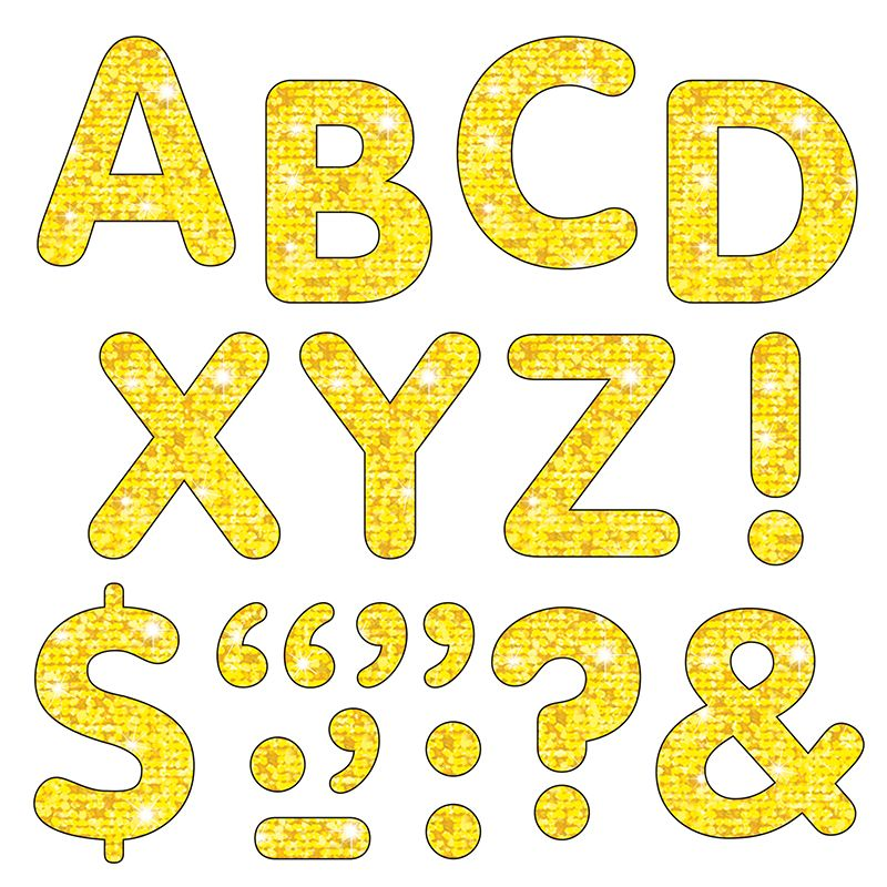 Stick-Eze Stick-On Letters Yellow Sparkle 2 Inch