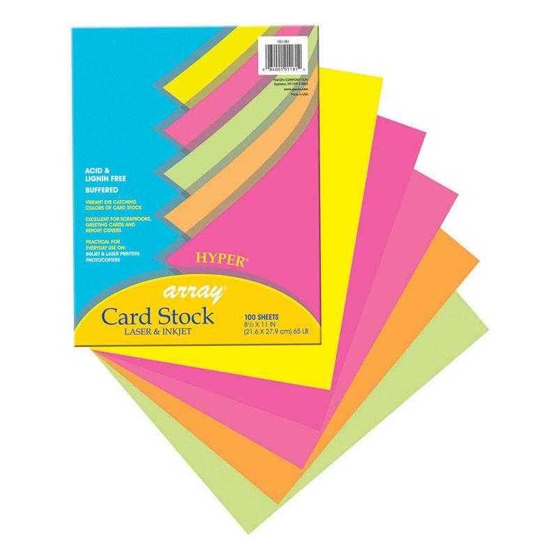 Array Card Stock Hyper 100 Sht Assortment 5 Colors 8- 1/2 X 11