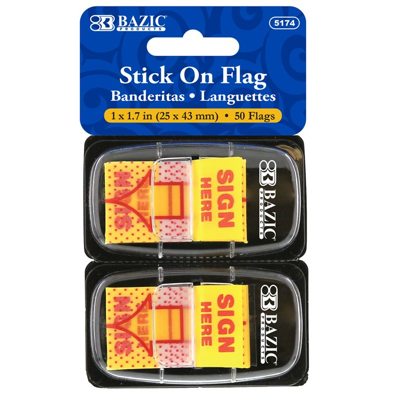 1in Yellow Sign Here Flags 50ct Stick On Flags