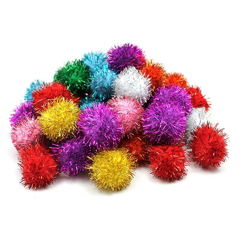 Glitter 1In Pom Pons 40 Pcs