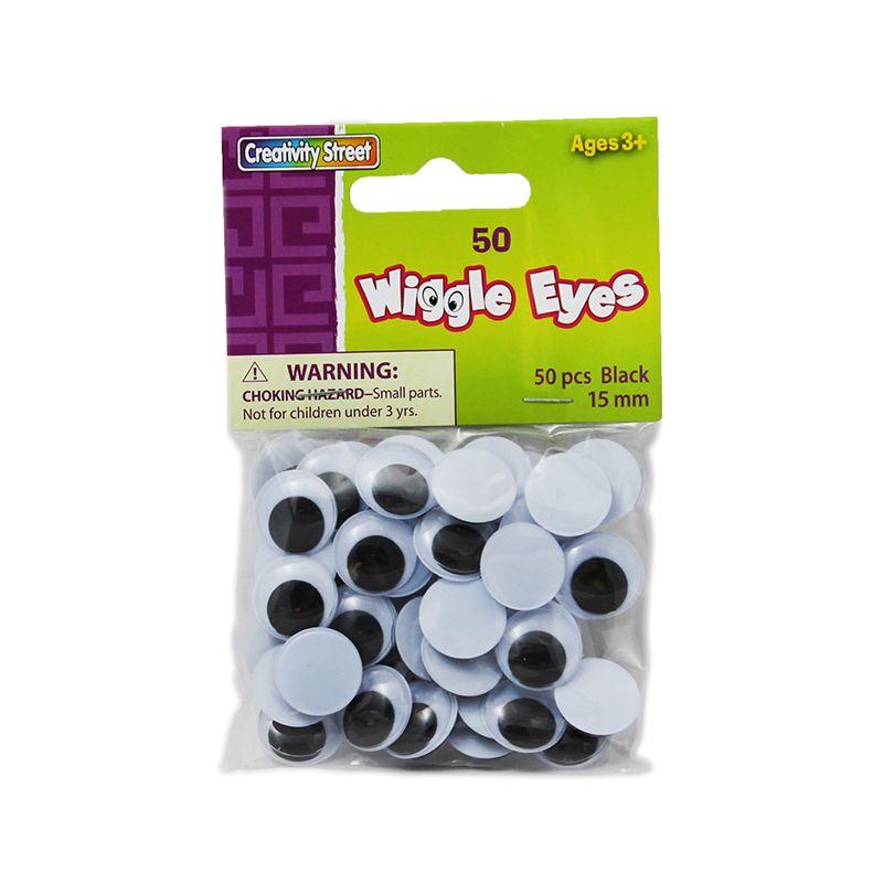 Wiggle Eyes 15Mm Black 50/Pk