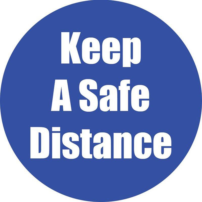 Keep A Safe Distance Blue Floor Sticker 5pk