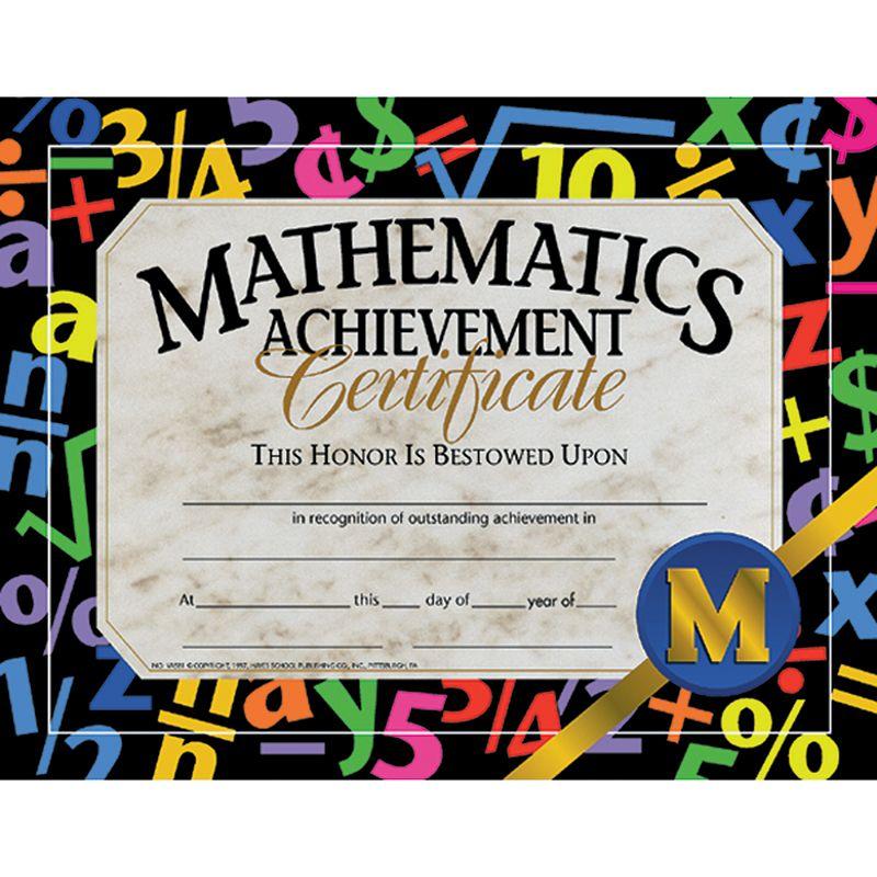 Certificates Mathematics 30/Pk Achievement 8.5 X 11
