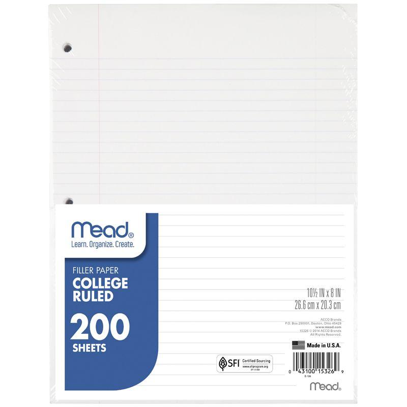 Filler Paper College Ruled 200Sheet 10-1/2 X 8