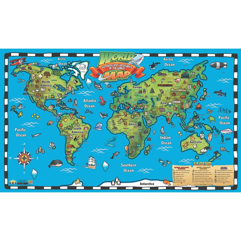 Kids World Map Intractve Wall Chart With Free App