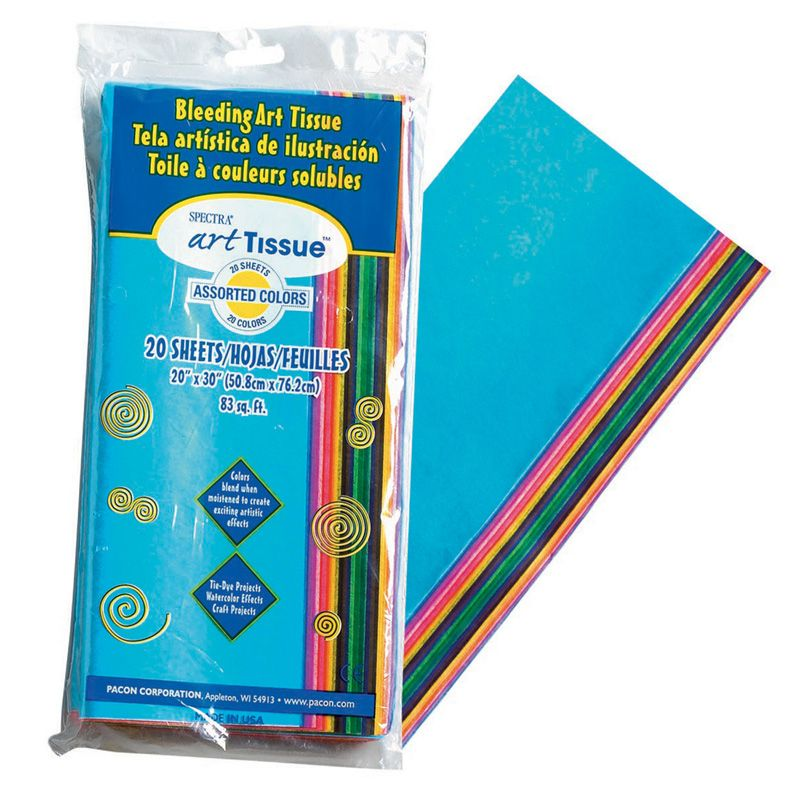Bleeding Art Tissue 20 Sheets 20 Assorted Colors 20X30