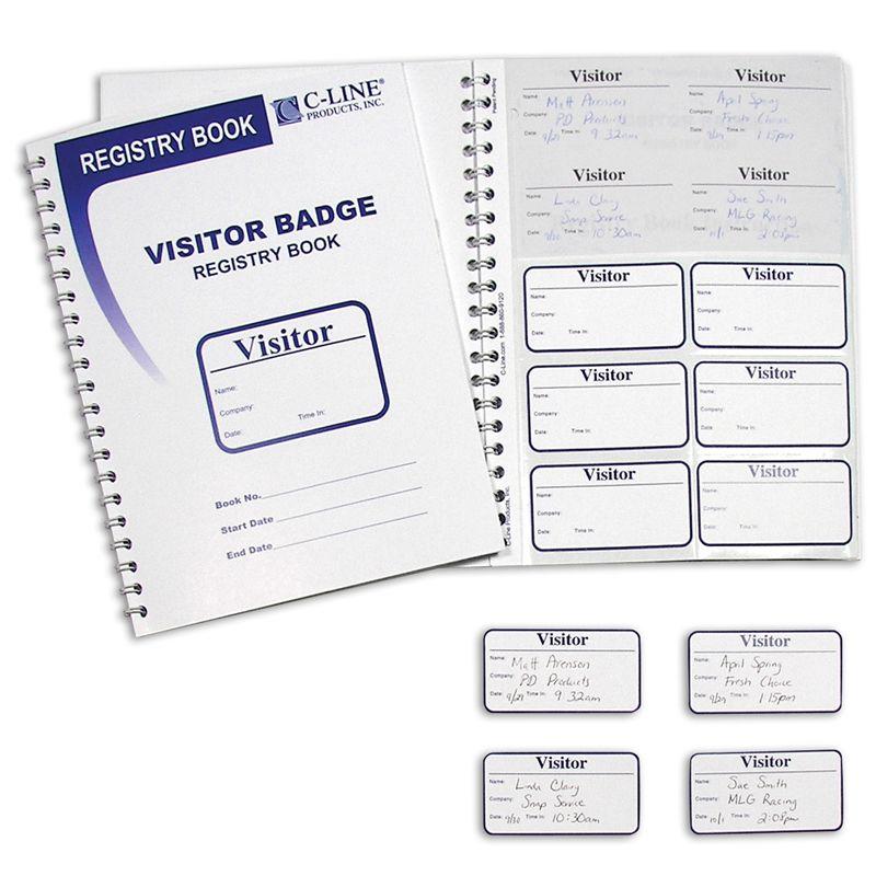 Visitor Badges With Registry Log 150 Badges & Log Book