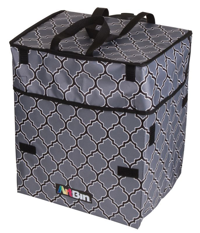 Rolling Tote, Lightweight Collapsible Craft Bag- Black And Gray