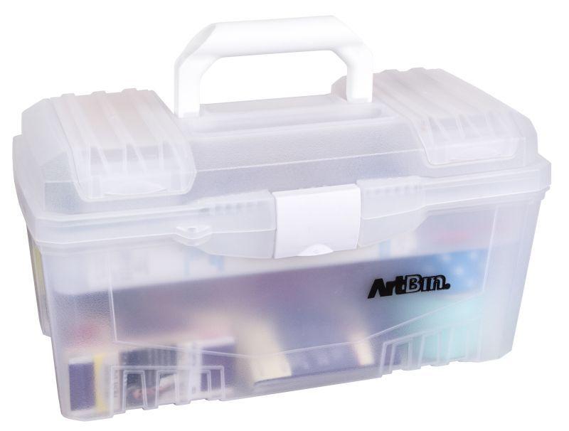 "17"" Twin Top Supply Box-trans/white"