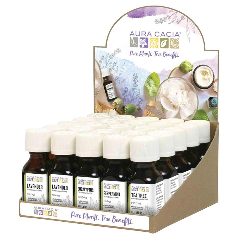 Aura Cacia Essential Oil Counter Display Top-selling Variety Pack 25 Ct.