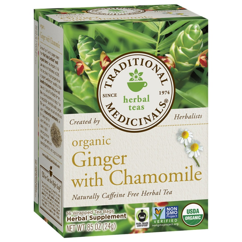 Traditional Medicinals Organic Ginger With Chamomille Tea 16 Tea Bags