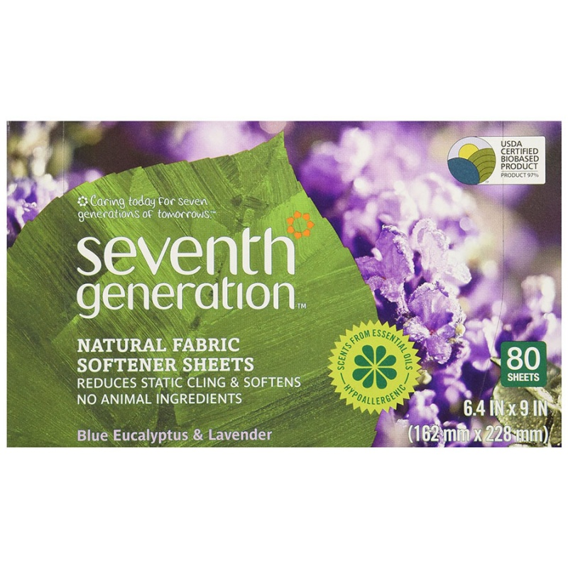 Seventh Generation Lavender Natural Fabric Softener Sheets 80 Count