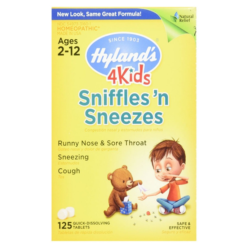 Hyland's 4 Kids Sniffles 'n Sneezes Tablets 125 Quick-dissolving Tablets