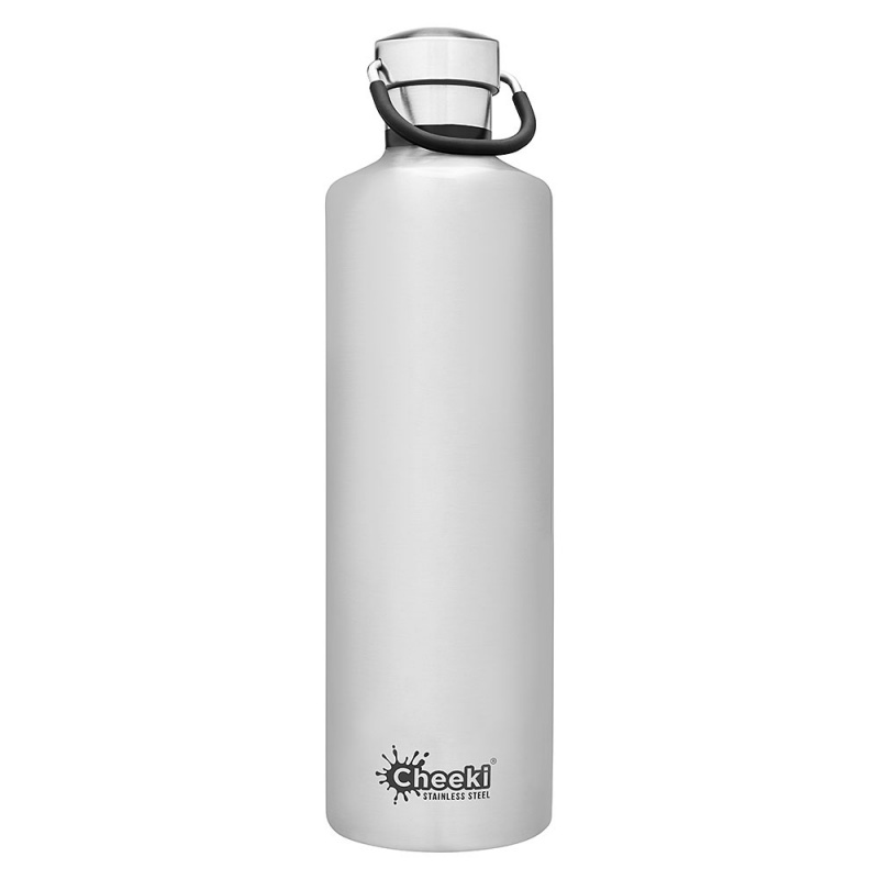 Cheeki Silver Stainless Steel Insulated Classic Bottle 34 Oz