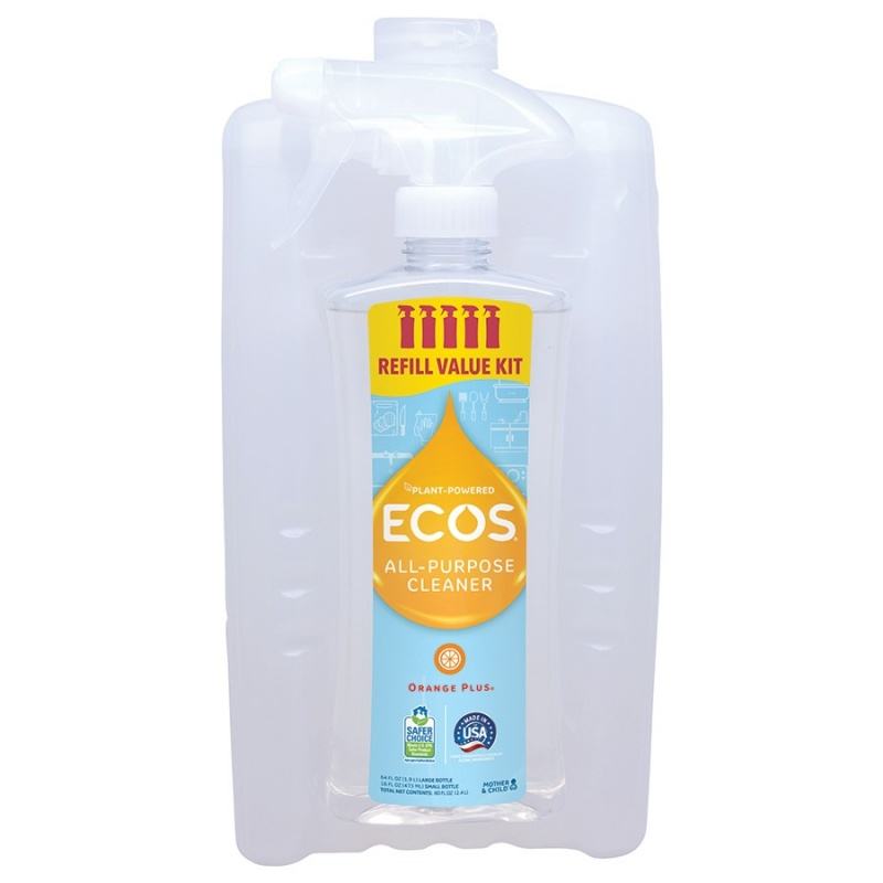 Earth Friendly Products Mother & Child All- Purpose Cleaner, Orange Plus 80 Fl. Oz. Refill Kit