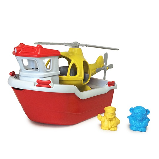 Green Toys Bath & Water Play Rescue Boat & Helicopter For 2+ Years