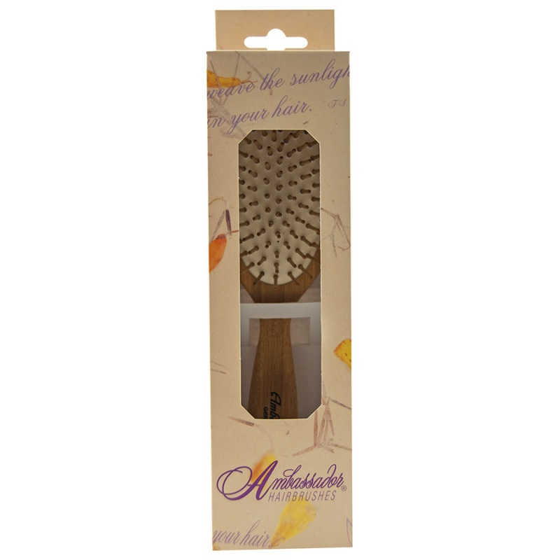 Ambassador Hairbrushes Large Oval Bamboo Brush With Wooden Pins Large Oval