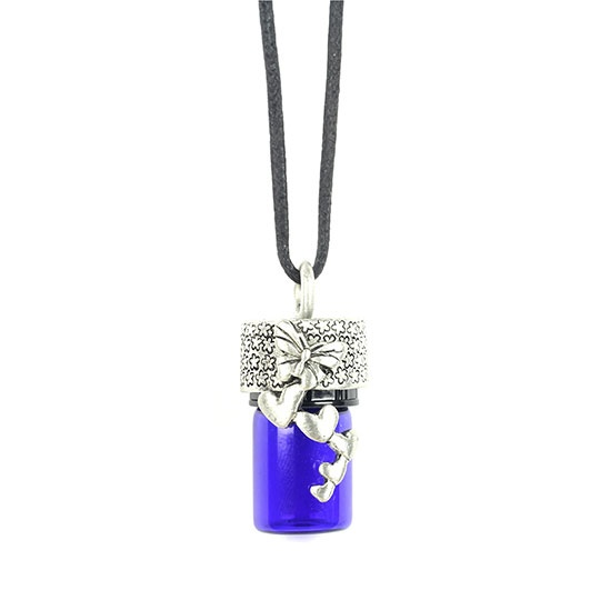 Butterfly Hearts Aroma Bottle Diffuser Necklace 30 Waxed Cord