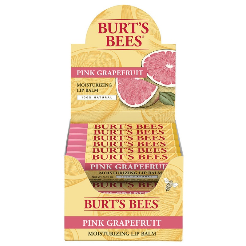 Burt's Bees Pink Grapefruit Lip Balm Display 12 (0.15 Oz.) Tubes