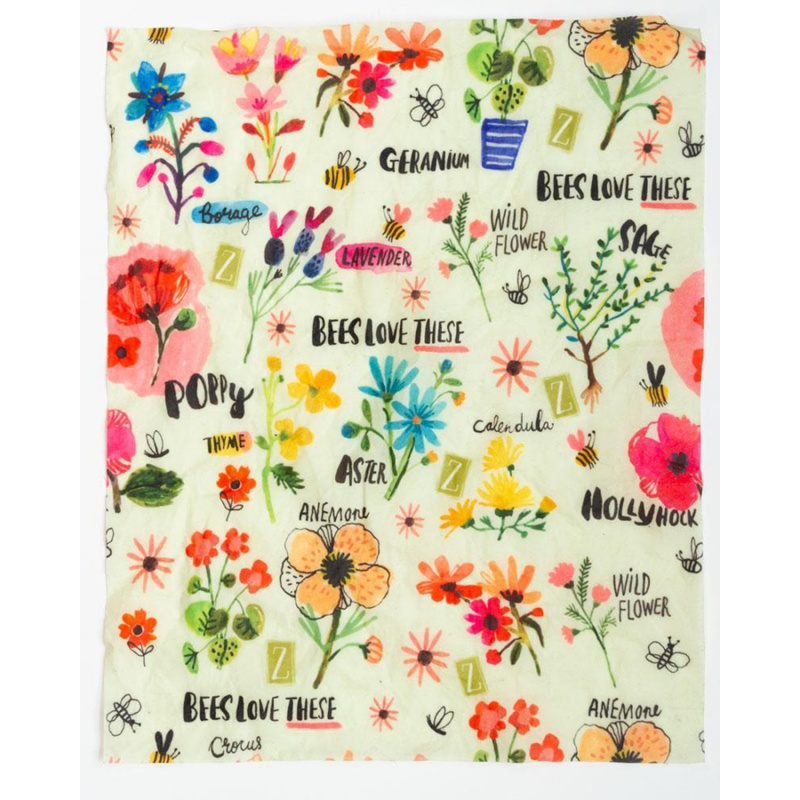 Z Wraps 3- Pack Beeswax Wrap, Small Bees Love These, 2 Medium Painted Poppies Print