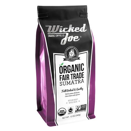 Wicked Joe Coffee Sumatra Whole Bean Coffee 12 Oz