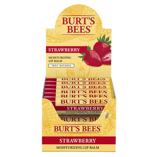 Burt's Bees Strawberry Lip Balm Display 12 (0.15 Oz.) Tube