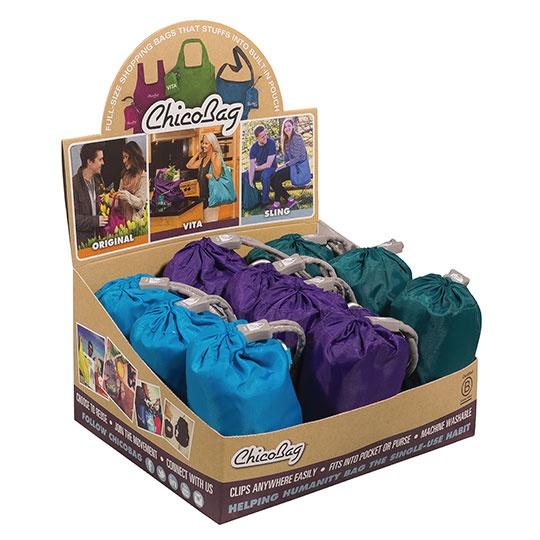 Chico Bag Assorted Colors Vita Re P E Te 10 Pack Reusable Shopping Bag With Display Box 19 X 13