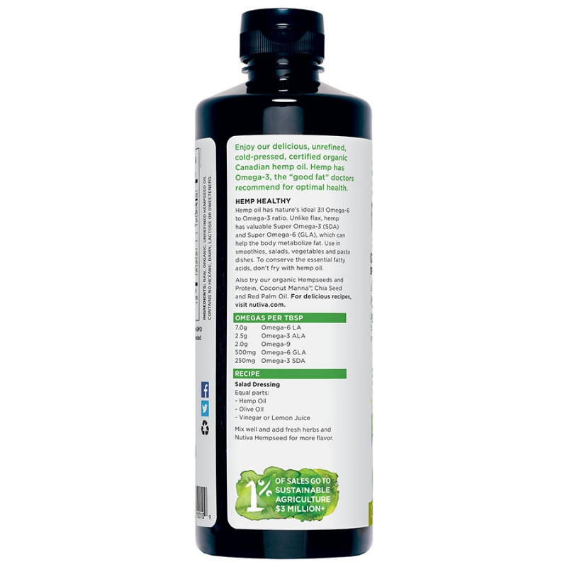 Nutiva Organic Cold Pressed Hemp Oil 24 Fl. Oz.