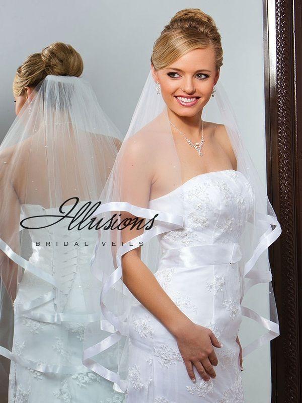 Illusions Bridal Ribbon Edge Veil C7-362-7R-P: Pearl Accent