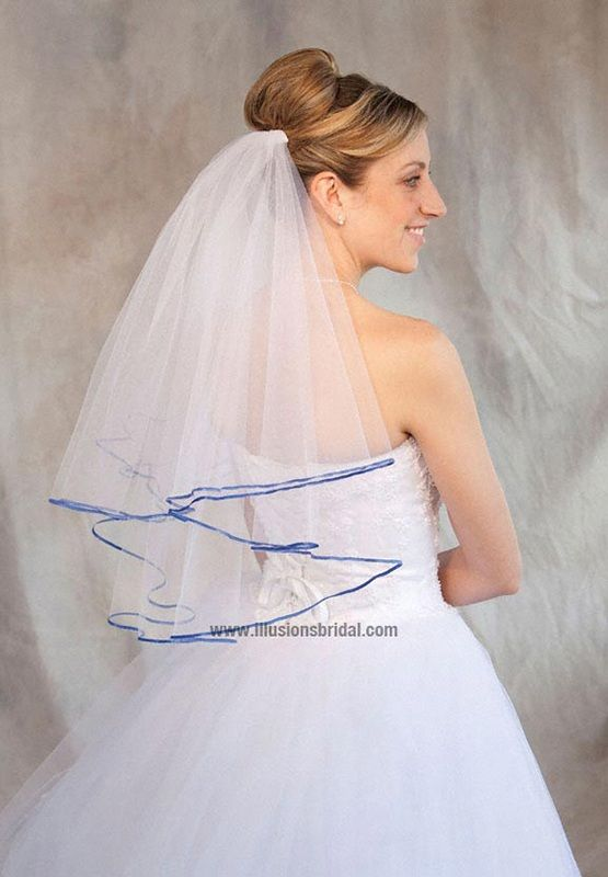 Illusions Bridal Colored Veils and Edges: Royal Blue Ribbon Edge