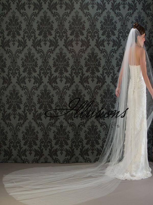 Illusions Bridal Cut Edge Veil 1-1441-CT: Pearl Accent