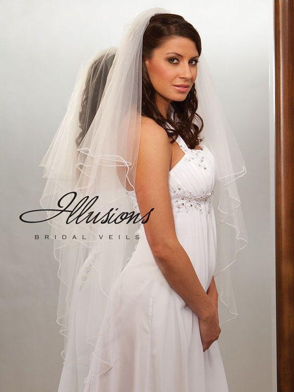 Illusions Bridal Pearl Edge Veil C7-452-P: Rhinestone Accent