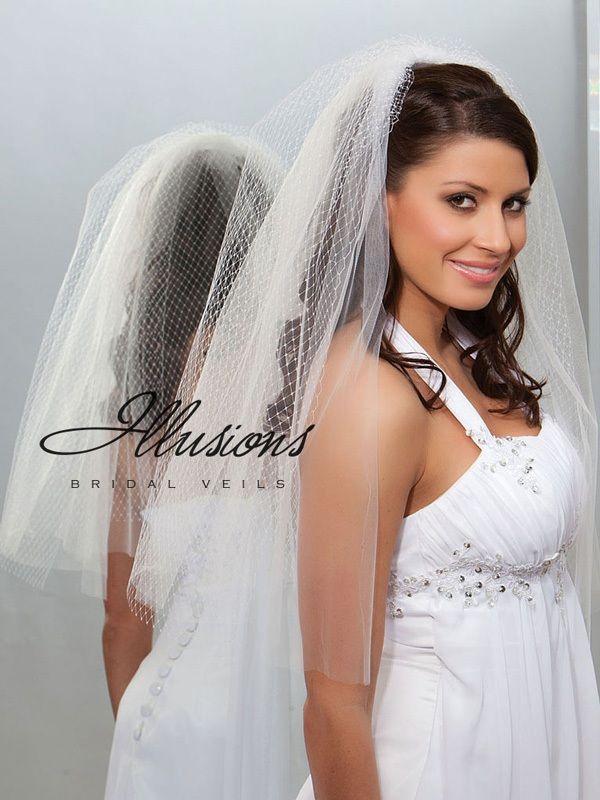 Illusions Bridal Cut Edge Veil QR7-252-CT: Pearl Accent