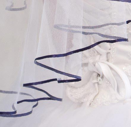 Illusions Bridal Colored Veils and Edges: Navy Blue Ribbon Edge