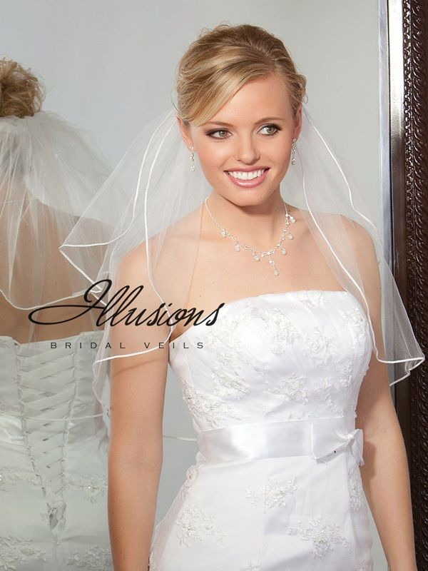 Illusions Bridal Soutache Edge Veil S5-202-ST: Rhinestone Accent