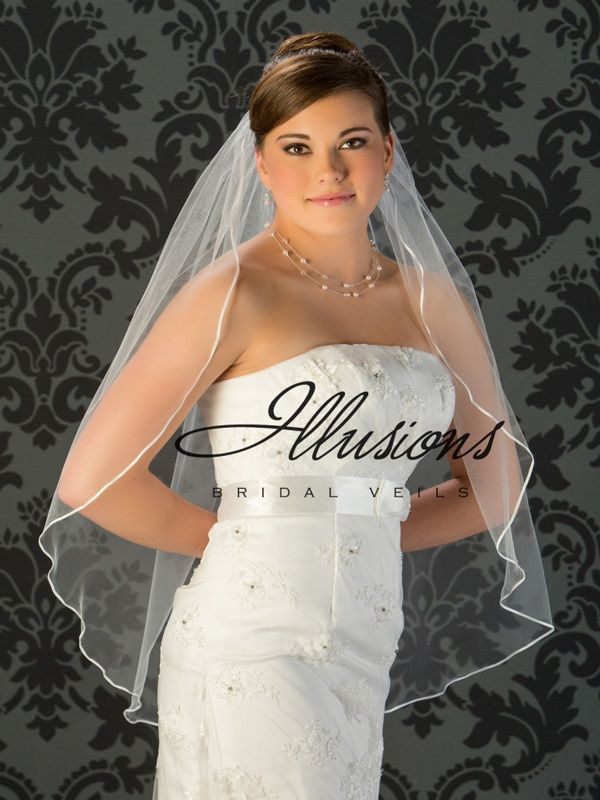 Illusions Bridal Ribbon Edge Wedding Veil 7-361-1R: White Fingertip Length