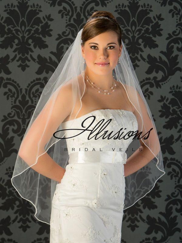 Illusions Bridal Pearl Edge Veil 1-361-P: Pearl Accent