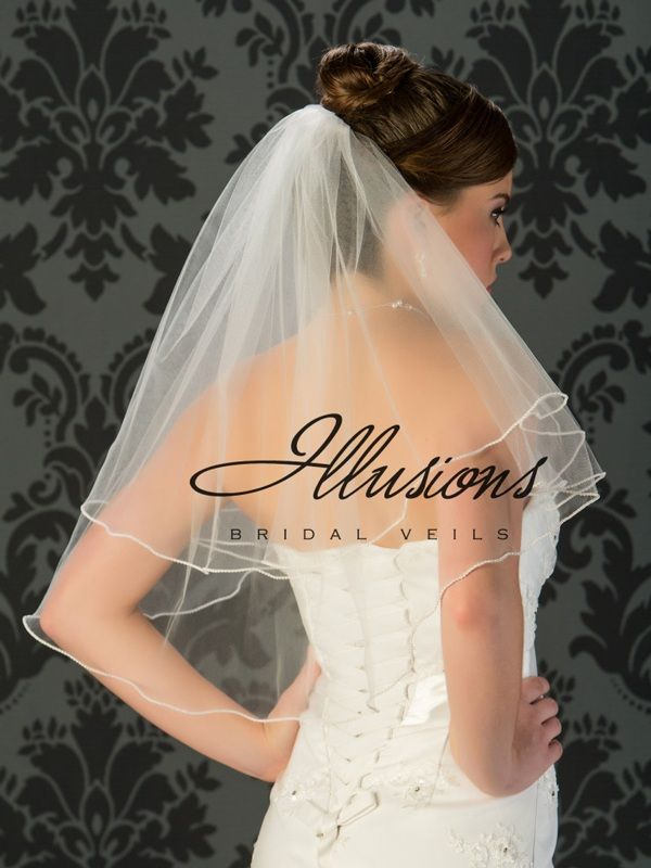 Illusions Bridal Pearl Edge Wedding Veil C7-252-P: 2 Layer